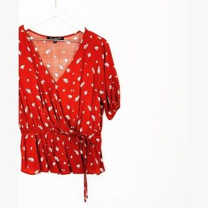 Red Floral Peplum Wrap V Neck Scrunch Sleeve Top